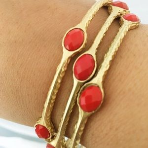 Jewelry - ⚡️2 for $20⚡️ 3 Matte Gold and Red Fashion Bangles